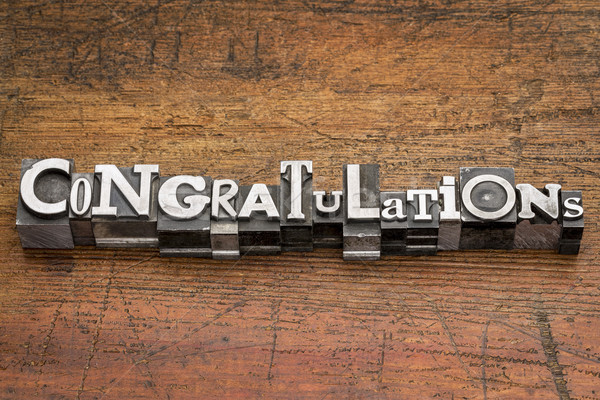 Stock photo: congratulations in metal type