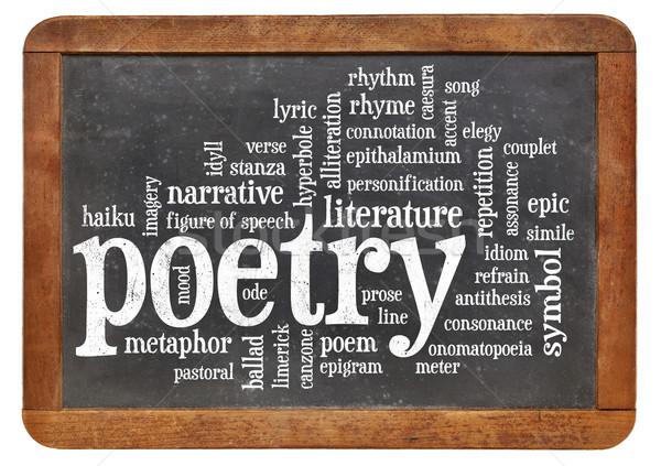 Poesie Wort-Wolke isoliert Jahrgang Tafel weiß Stock foto © PixelsAway