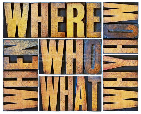 Sorular kelime soyut ahşap tip ne Stok fotoğraf © PixelsAway