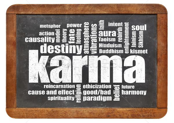 Karma szófelhő iskolatábla klasszikus izolált fehér Stock fotó © PixelsAway