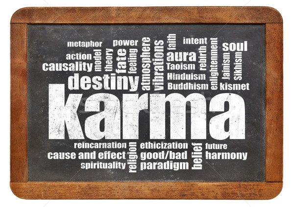Karma woordwolk Blackboard vintage geïsoleerd witte Stockfoto © PixelsAway