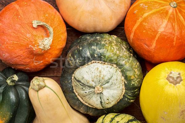 Hiver squash variété fruits rustique table en bois Photo stock © PixelsAway