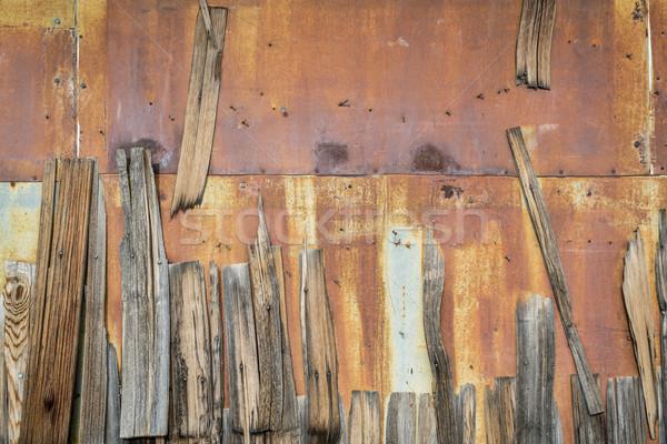 rusty metal and wood shingles Stock photo © PixelsAway