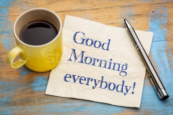 Good Morning Everyone In Cebuano : Bonjour · serviette texte écriture tasse espresso