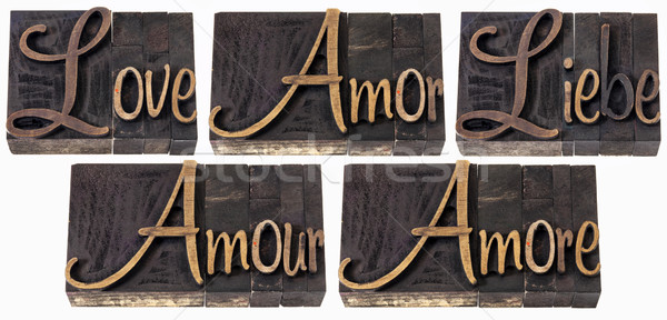 love word in 5 languages Stock photo © PixelsAway