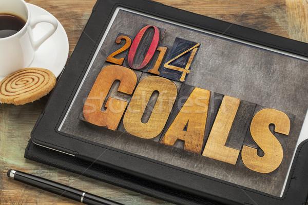 2014 goals on digital tablet Stock photo © PixelsAway