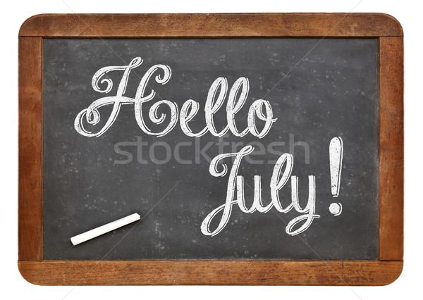 Hello July sign on blackboard Stock photo © PixelsAway