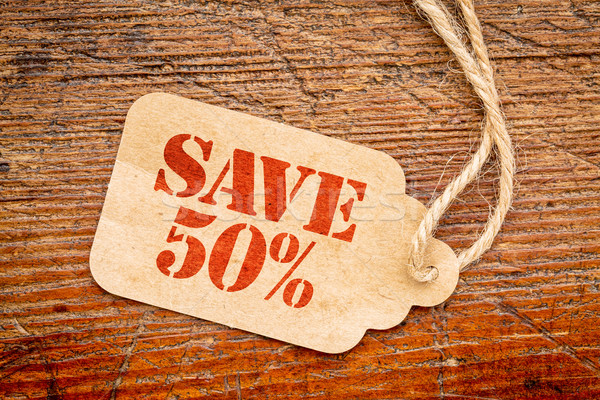 Zapisać 50 procent podpisania cena tag Zdjęcia stock © PixelsAway