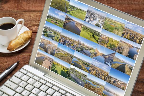 aerial landscape picture set on laptiop Stock photo © PixelsAway