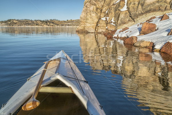 Stock photo: canoe bow with a paddle