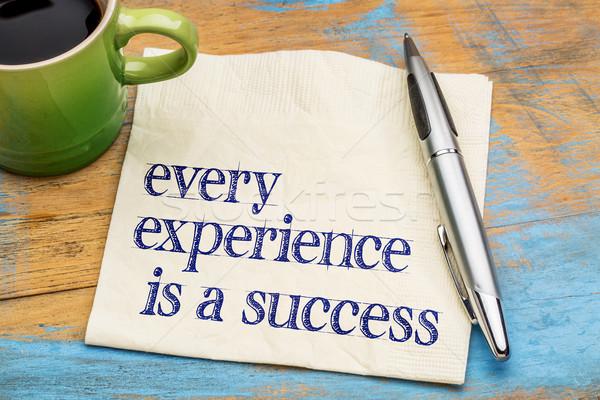 Esperienza successo calligrafia tovagliolo Cup caffè Foto d'archivio © PixelsAway