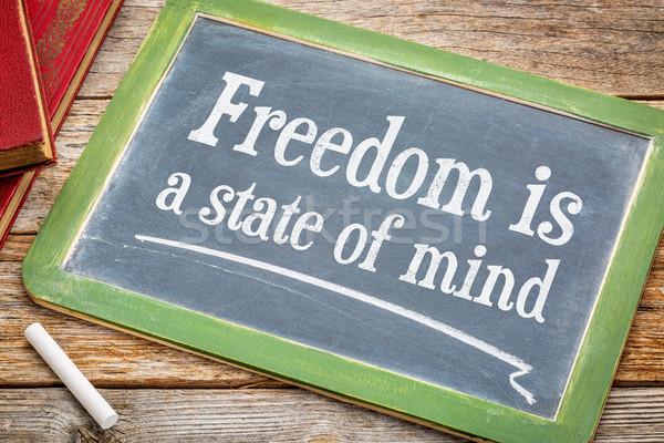 Szabadság elme inspiráló szöveg iskolatábla fehér Stock fotó © PixelsAway