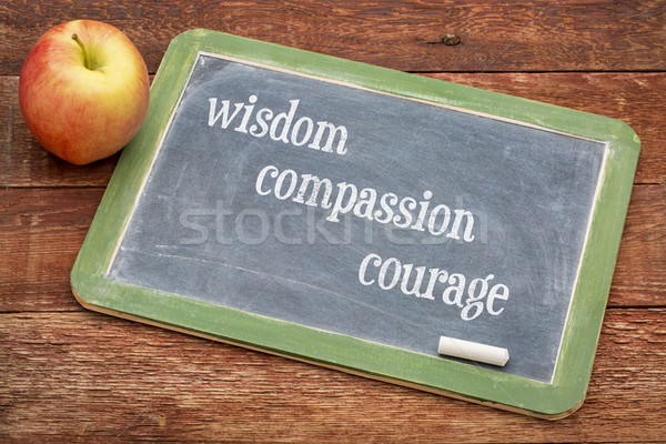 Sagesse compassion courage moral texte tableau noir Photo stock © PixelsAway