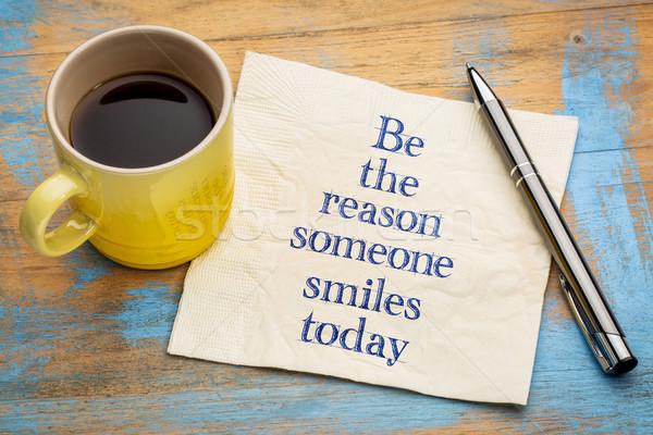 Ktoś uśmiecha dzisiaj pismo serwetka kubek Zdjęcia stock © PixelsAway