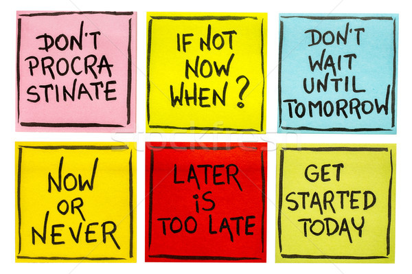fighting procrastination - set of motivational notes Stock photo © PixelsAway