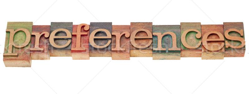 Preferências tipo isolado palavra vintage Foto stock © PixelsAway
