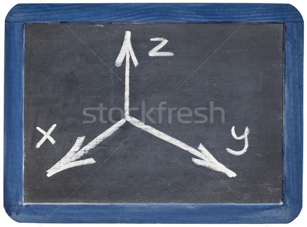 Cartesian coordinates xyz on blackboard Stock photo © PixelsAway
