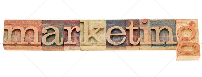 Stockfoto: Marketing · woord · type · geïsoleerd · vintage