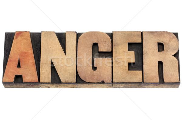 Gniew słowo drewna typu odizolowany tekst Zdjęcia stock © PixelsAway
