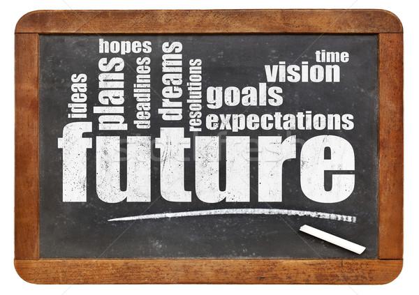 Jövő álmok célok szófelhő klasszikus iskolatábla Stock fotó © PixelsAway