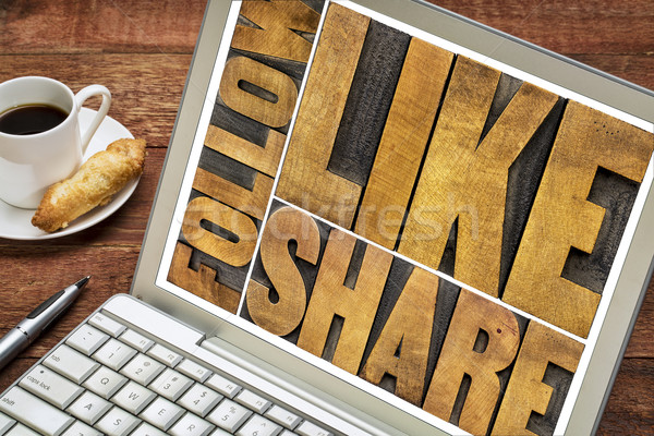 like, share, follow word abstract  Stock photo © PixelsAway