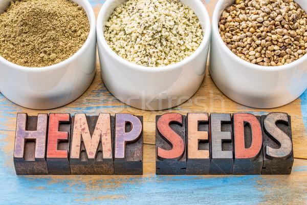 hemp seeds, hearts and protein powder Stock photo © PixelsAway