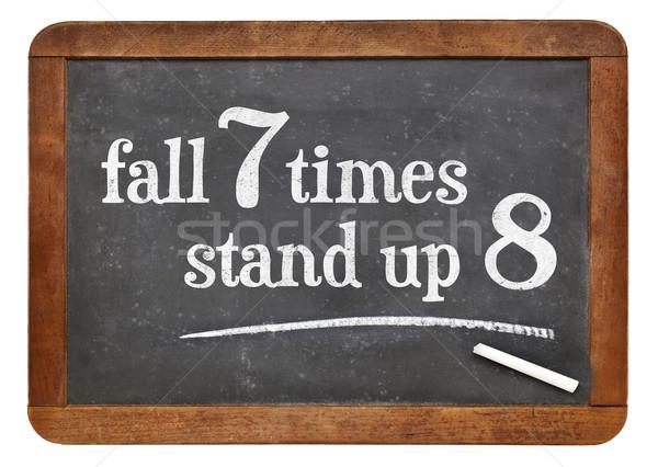 Japonais proverbe tableau noir automne sept stand Photo stock © PixelsAway