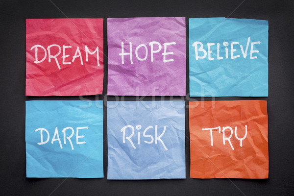dream, hope, believe, risk,  and try Stock photo © PixelsAway