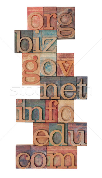 internet domains in letterpress type Stock photo © PixelsAway