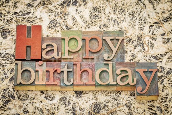 Stock photo: Happy Birthday in letterpess wood type