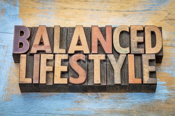 сбалансированный жизни слово аннотация древесины тип Сток-фото © PixelsAway