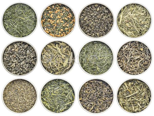 Solto folha chá verde coleção no sentido horário topo Foto stock © PixelsAway