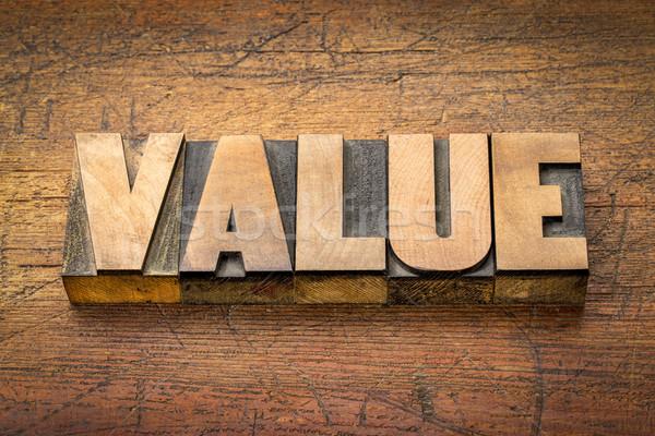 Valor palavra abstrato madeira tipo vintage Foto stock © PixelsAway