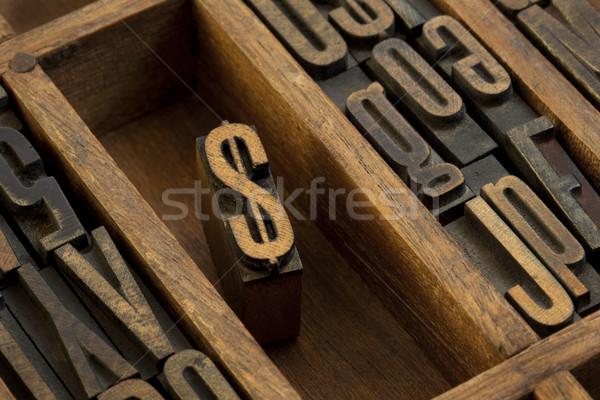 Dollar vintage bois type financière Photo stock © PixelsAway