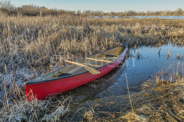 red canoe in a wetland Stock photo © PixelsAway