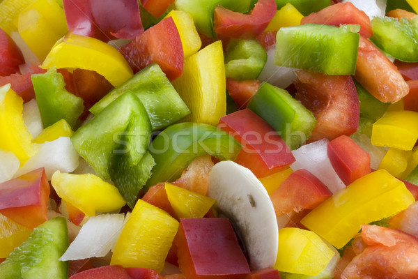green, red, yellow pepper, onion and mushrooms diced Stock photo © PixelsAway