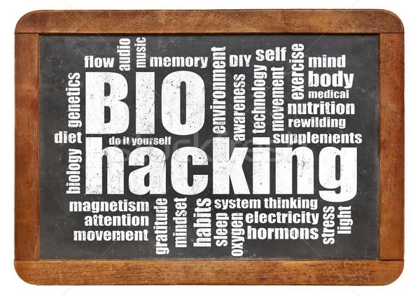 Stock photo: biohacking word cloud on blackboard