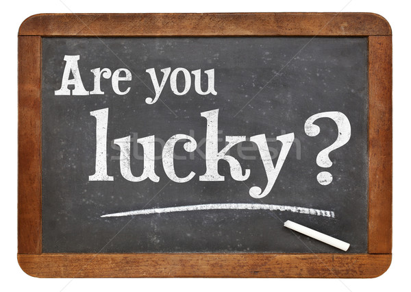 Are you lucky question on blackboard Stock photo © PixelsAway