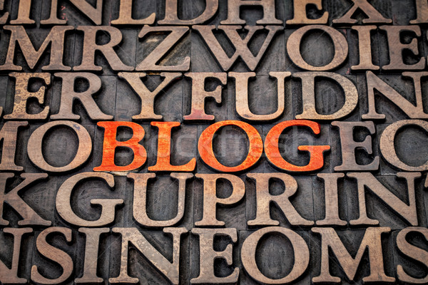 blog word abstract in wood type Stock photo © PixelsAway
