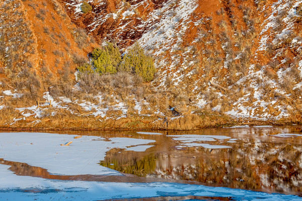 water, snow, ice and red mountains Stock photo © PixelsAway