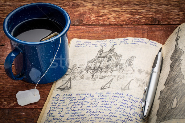Yazı seyahat dergi sefer el yazısı çizim Stok fotoğraf © PixelsAway