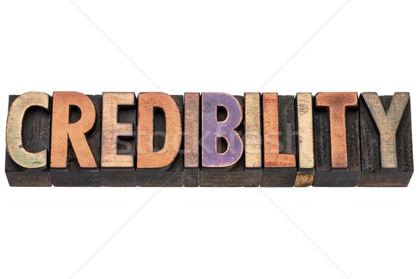 Geloofwaardigheid woord hout type geïsoleerd tekst Stockfoto © PixelsAway
