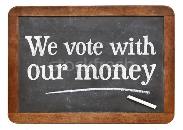Oy para beyaz tebeşir metin bağbozumu Stok fotoğraf © PixelsAway