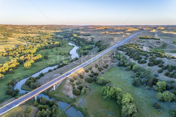 Légifelvétel folyó autópálya híd homok dombok Stock fotó © PixelsAway