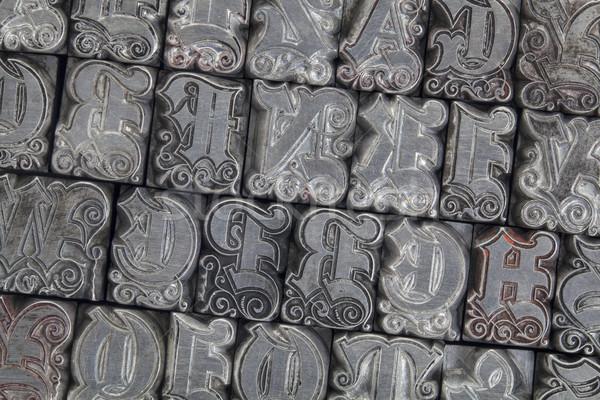 ornamental metal letterpress type Stock photo © PixelsAway
