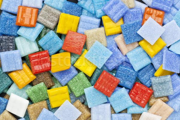 Kleurrijk glas mozaiek tegels toevallig dominant Stockfoto © PixelsAway