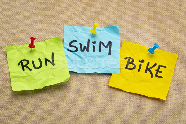 Correr bicicleta nadar triathlon fitness palavras Foto stock © PixelsAway