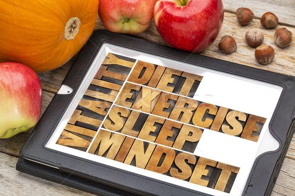 Régime alimentaire dormir exercice vitalité résumé Photo stock © PixelsAway