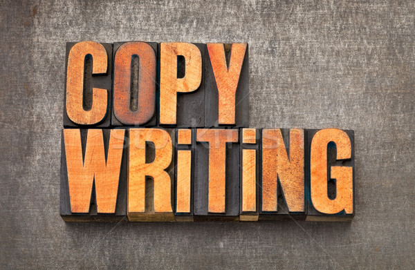 Stock photo: copywriting word in letterpress wood type