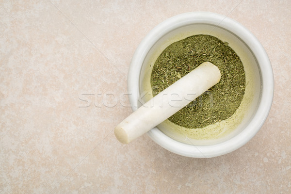 stevia leaves crushed in mortar  Stock photo © PixelsAway